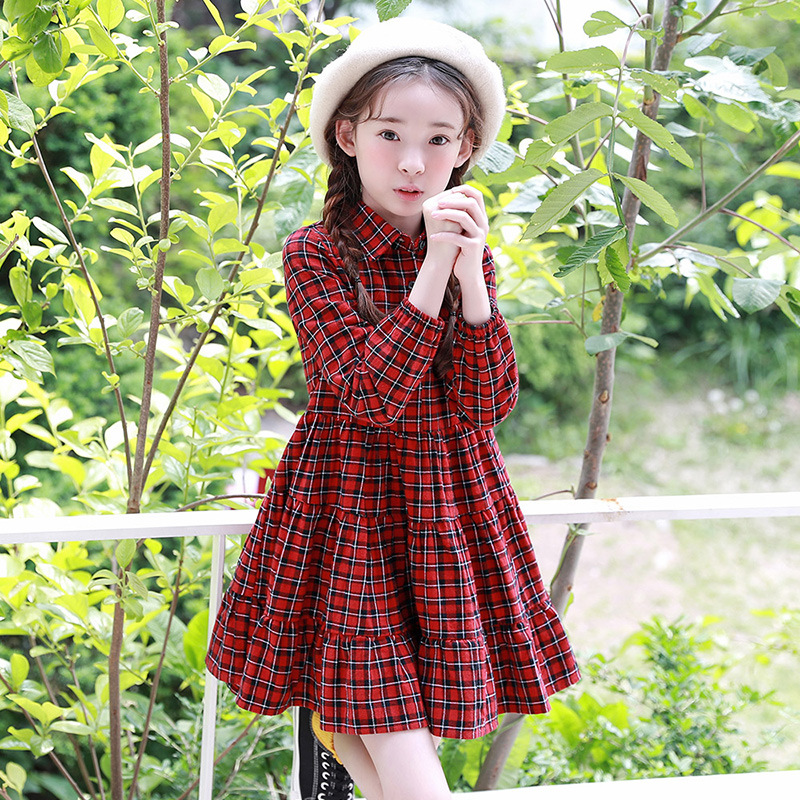 Children's Dress Korean version Pure Color Long Sleeve Large Hem All Matched Fashion Freshness New In 2018 batwing sleeve pocket side curved hem textured dress