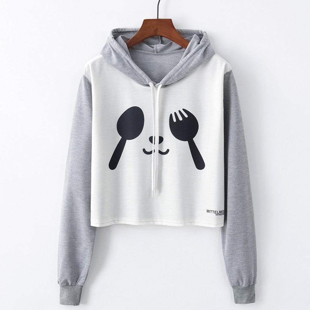 Hoodies Womens Fashion Autumn Printed panda Long Sleeve Lovely clothes Sweatshirt Pullover Top sudadera mujer gothic moletom