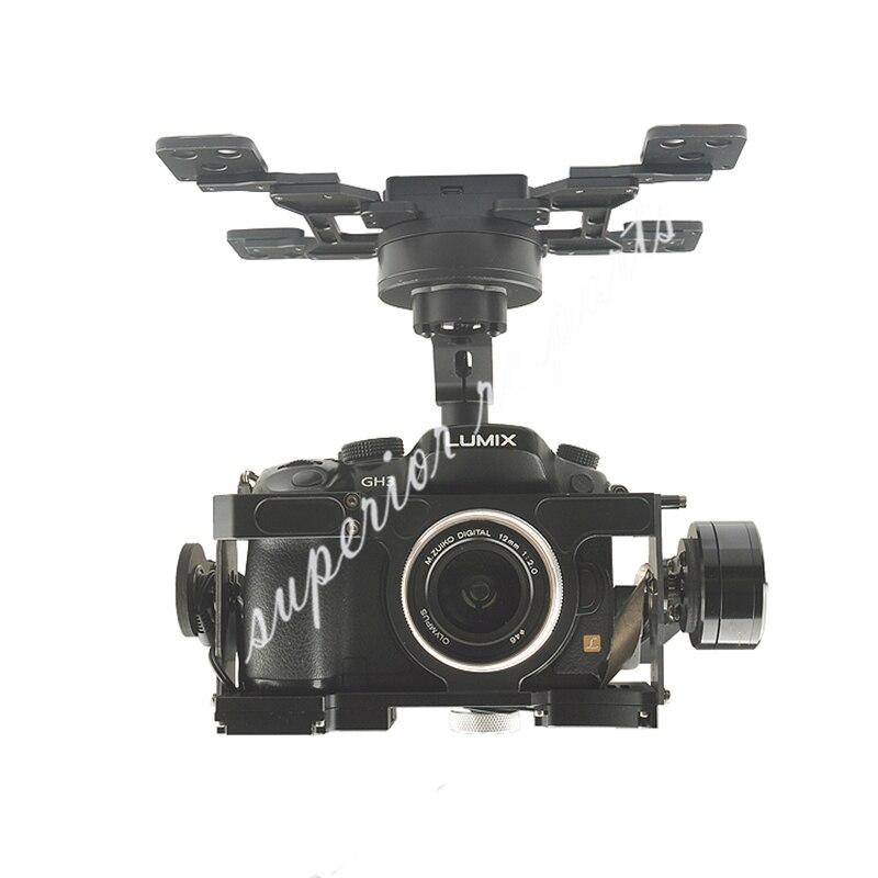 Cardan sans balais HG3D + trois axes avec GH3 GH4 GH5 édition intégrée HDMI à AV obturateur à distance pour la photographie RC FPV