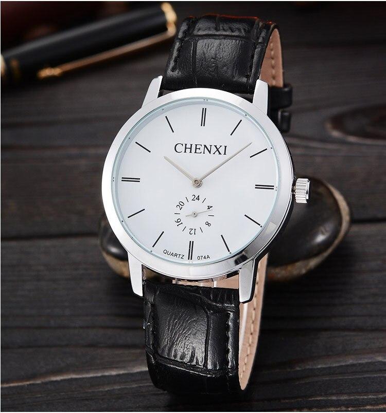 CHENXI Brand Simple Style Black Silver Leather Dress Quartz Wristwatches Wrist Watch Clock Hours for Men 074A OP001