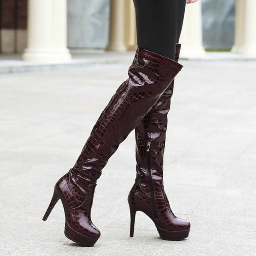Plus duży rozmiar 32-46 czarne wino-czerwone zielone nad kolana zakolanówki platformy zimowe ciepłe damskie buty damskie X1740