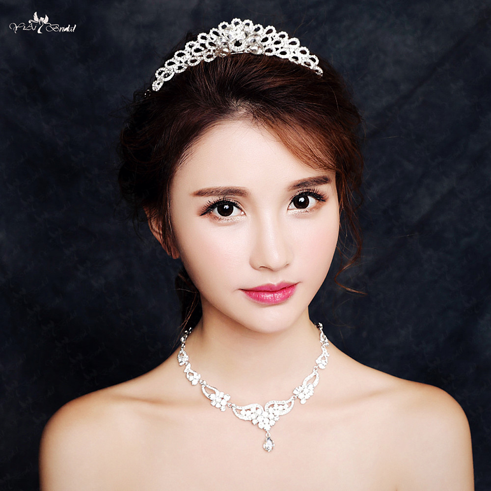 RSC5 Fashion Bridal Jewelry Sets Crystal Necklace Tiaras And Crowns