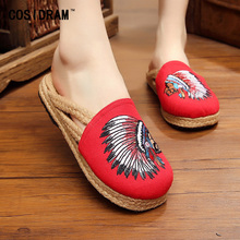 Women Slippers For Women Shoes Hemp Indian Embroidery Casual Female Footwear Linen Canvas Fashion Casual Ladies Shoe SNE-177