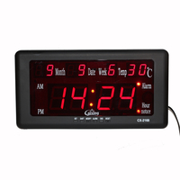 Electronic LED Digital Alarm Clock Wall Clock Big Display Temperature Calendar Date Week Kickout Stand for Tabletop Placement