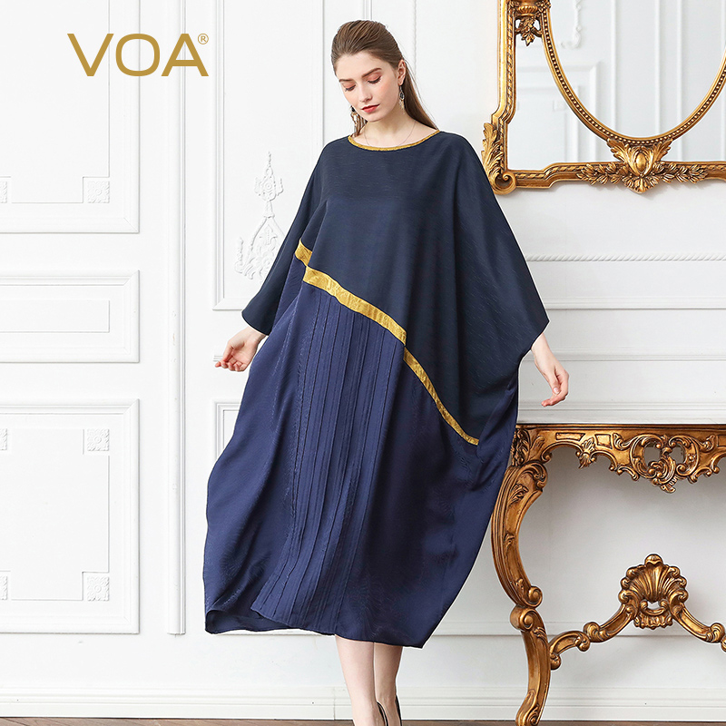 a20c791b674ff VOA Silk Jacquard Plus Size 5XL Loose Robe Dress Women Navy Blue Casual  Muslim Bat Sleeve Long Gold Edged Female Summer A309