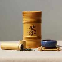 Handmade Chinese Travel Bamboo Storage Tank Organization Jar For Storage Coffee Bean Matcha Tea Candy Jams
