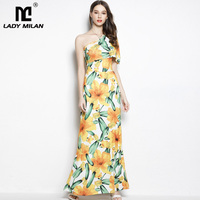 Lady Milan Women's One Shoulder Ruffles Sleeves Fashion Long Party Dresses Casual Summer Beach Dresses