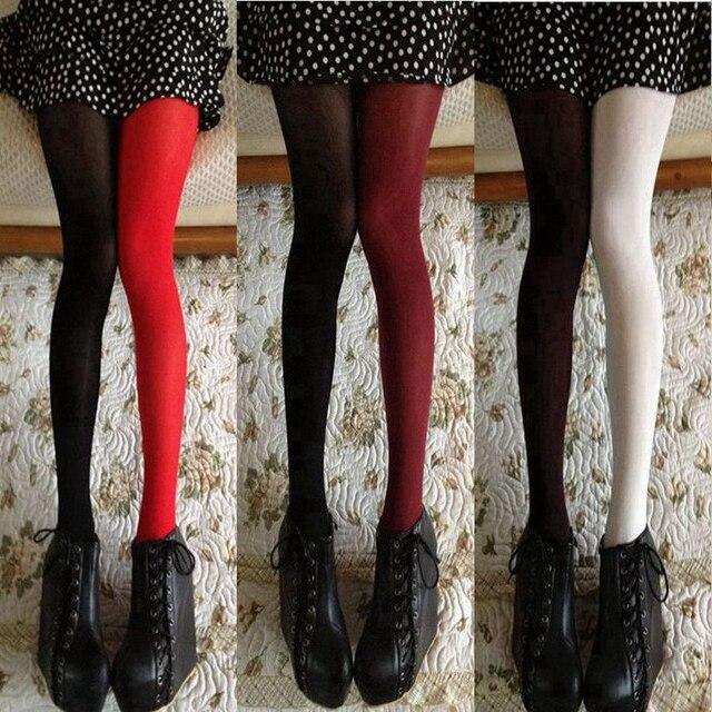 Для женщин демисезонный 120D колготки для новорождённых Мода асимметрия контрастного цвета бархат колготки леди обувь девоче
