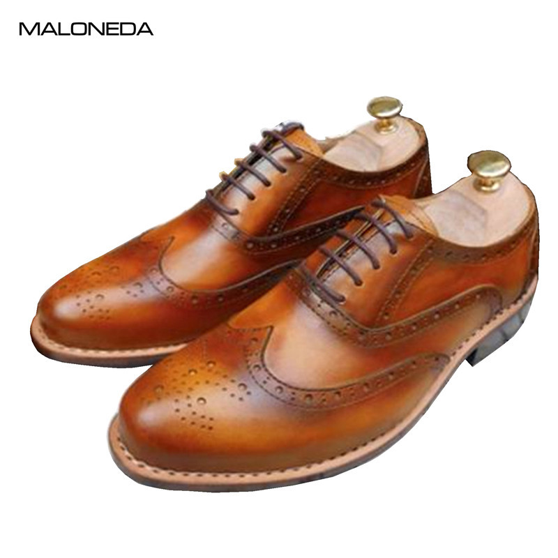 MALONEDA Handmade Goodyear British Style Carved Genuine Leather Shoe Brown Brogue Shoes Lace-Up Bullock Business Men's Flat maloneda custom made genuine leather blue color dress shoes handmade goodyear welted lace up mens oxford brogue shoe