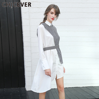 CHICEVER 2017 Spring Women Dress Irregular Stripe Vest Long Sleeve Shirt Dress