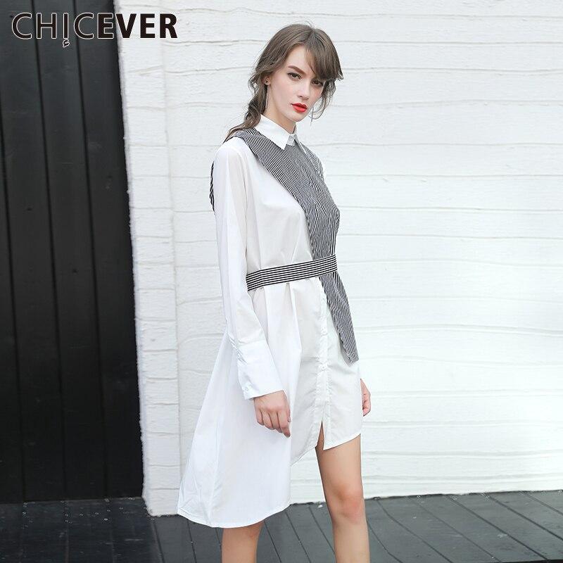 CHICEVER 2017 Spring Women Dress Irregular Stripe Vest Long Sleeve Shirt Dress