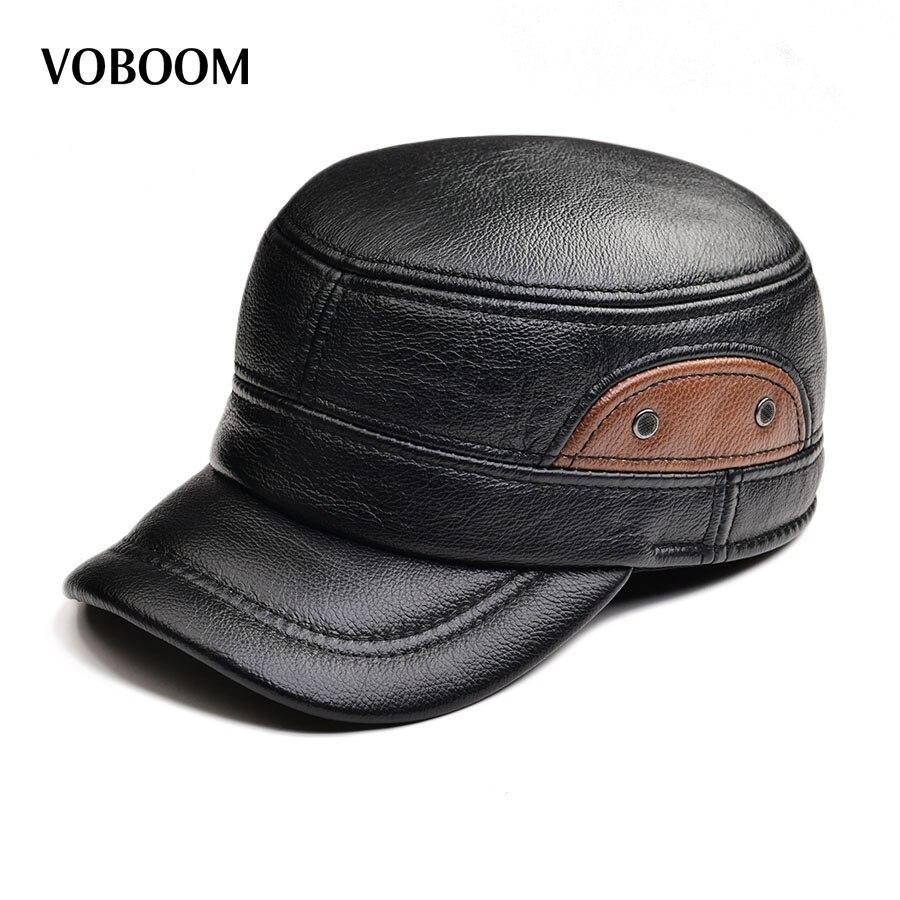 VOBOOM Men Sheepskin Hat Cadet Cap Hat For Men Daddy Genuine Leather Hat Quinquagenarian Male Thermal Ear Protection 1601