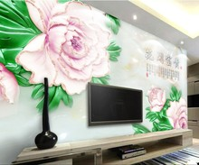 Customized wallpaper mural Chinese style 3D natural scenery with flower jade carving behind sofa as background in living room