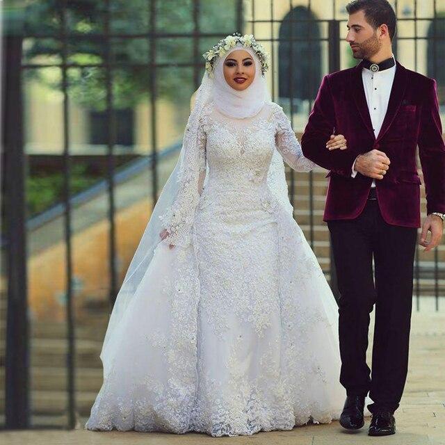 107cd40c4f4a Nuovo merletto di arrivo vintage guaina abiti da sposa musulmana manica  lunga modest abito da sposa