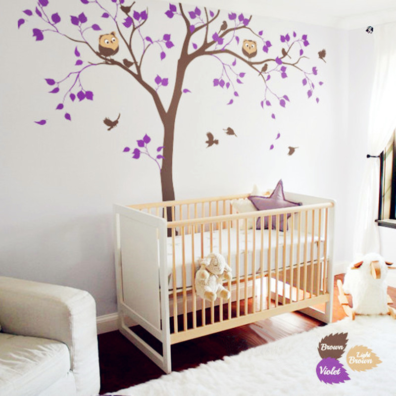 Cute Baby Nursery Tree Decal Huge White Tree Wall Sticker Home Decor Birds  And Owls Wall Art Mural Baby Bedroom Decoration In Wall Stickers From Home  ...
