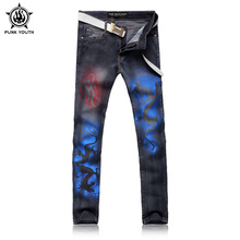 Punk Youth Male Black Dragon Print Jeans Shorts Men's Clothing Trend Slim Small Trousers Male Casual Trousers Large Size 28-38