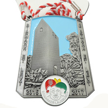 metal medals cheap custom sports with ribbons high quality antique silver plating tape