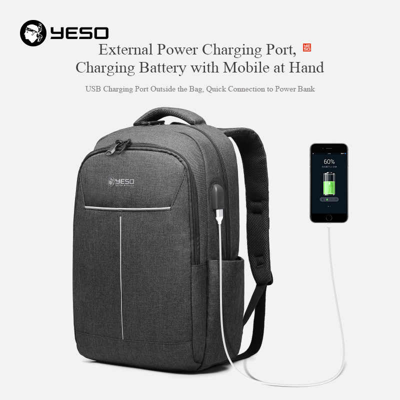 YESO Sırt Çantası Büyük Kapasiteli USB Şarj Ile Çok Fonksiyonlu Genç Iş Okul Seyahat Dizüstü Sırt Çantaları Kadın Erkek Için