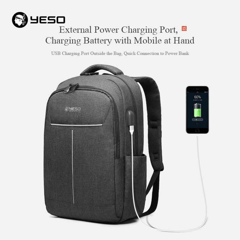 Yeso Ransel Kapasitas Besar dengan USB Pengisian Multifungsi Remaja Sekolah Bisnis Perjalanan Ransel Laptop untuk Wanita Pria