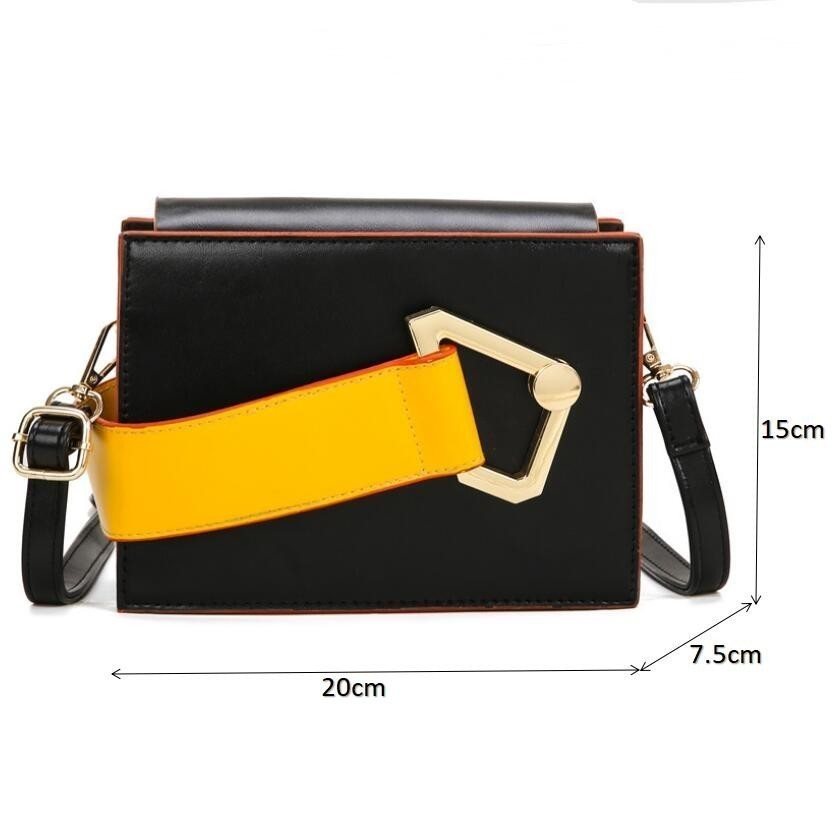 2019 New Fashion Designer Crossbody Bags For Women Box Shape Ladies Messenger Bags Stylish Panelled Luxury Handbags Women Bags in Shoulder Bags from Luggage Bags