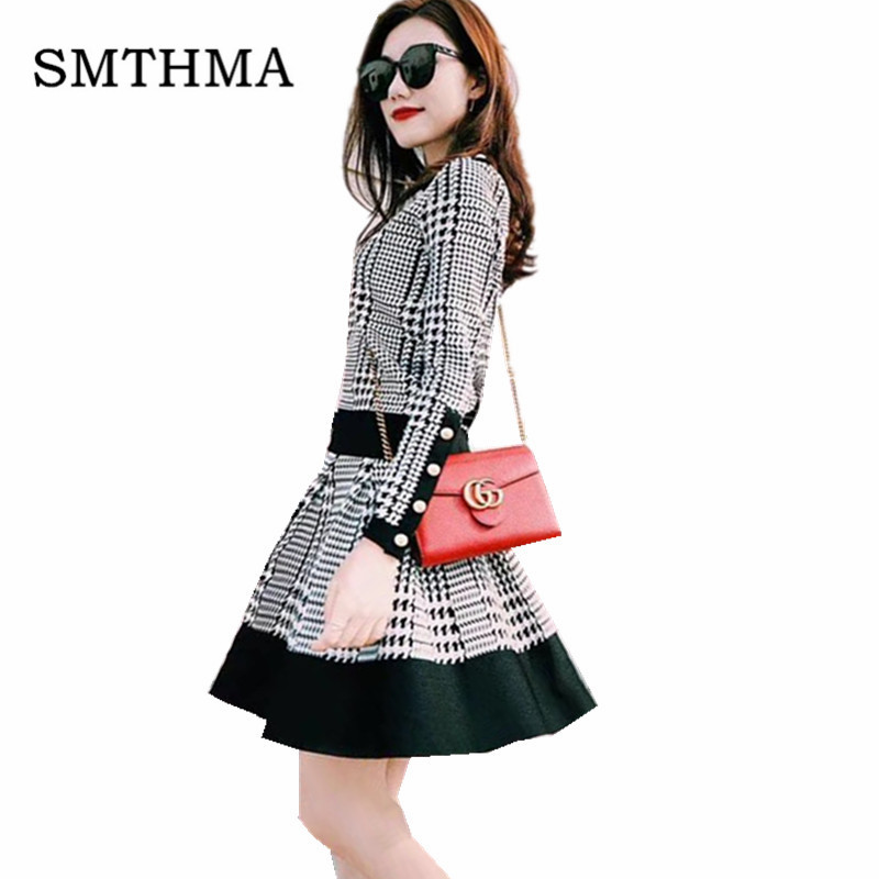2019 New Fashion Winter Women's Houndstooth Stitching Button Knitted Sweater + High Waist Skirt Two Piece Ladies Skirt Suits