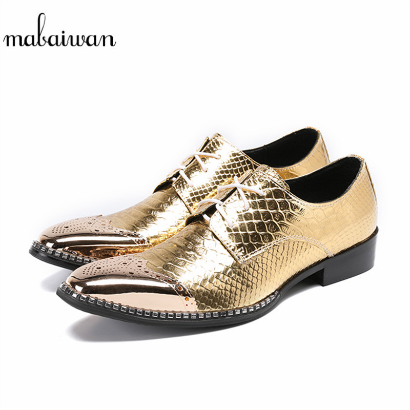 Mabaiwan New Design Gold Leather Wedding Dress Shoes Men Lace Up Italy Retro Business Loafers Flats Slipper Pigkin Shoes For Men mabaiwan fashion new design leather dress men shoes lace up italy business wedding formal shoes men metal pointed toe male flats
