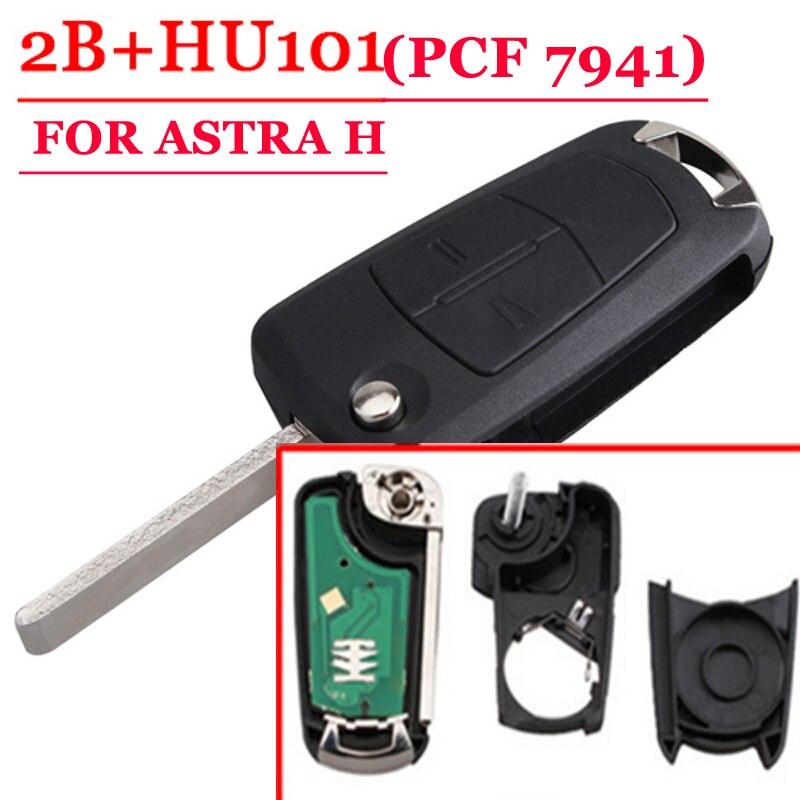 Envío gratuito (1 unidades) 2 Flip botón remoto de la llave de 433 MHz para Opel Astra H con PCF7941 Chip con buena calidad