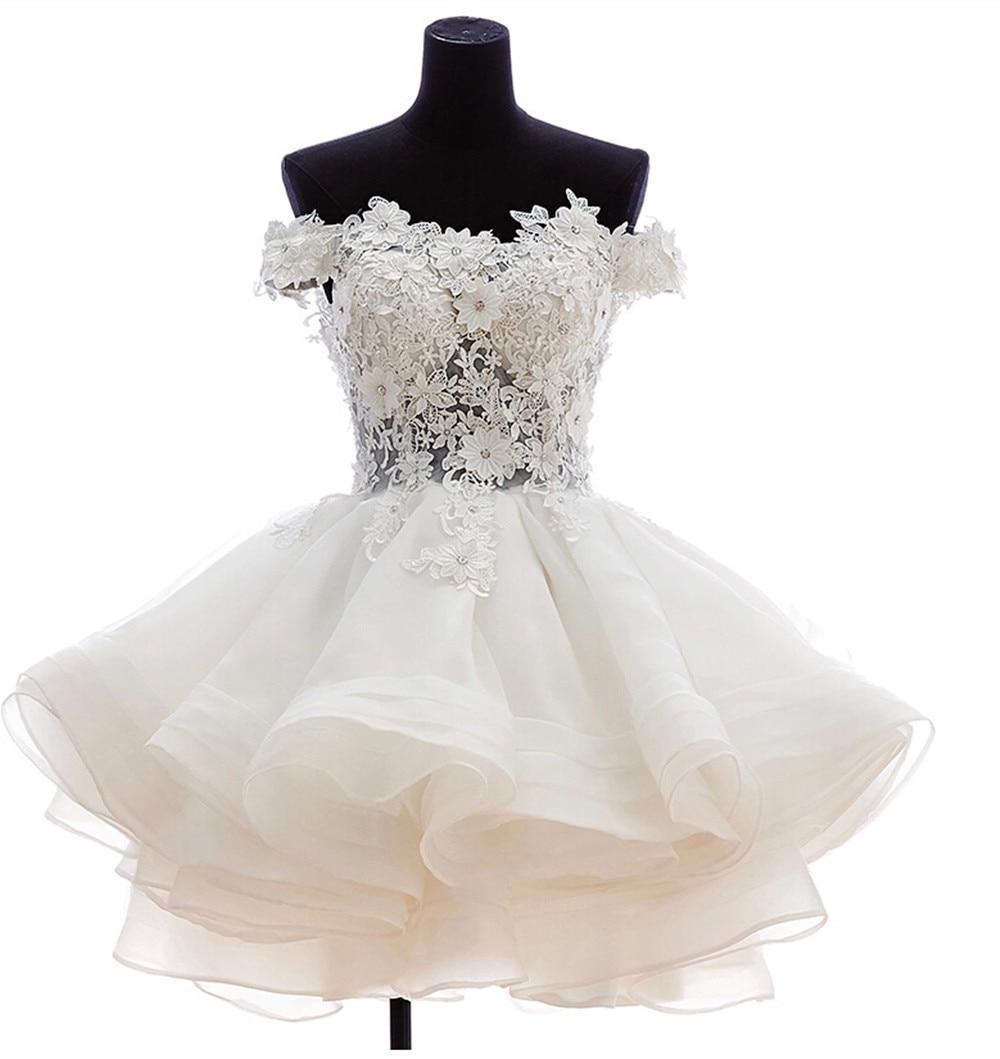 2018 Best Selling Short Puffy Prom gown Off Shoulder Lace Bodice Organza Cheap vestido de noiva   bridesmaid     dresses