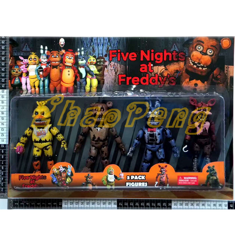 4Pcs/lot Lightening Movable joints Five Nights At Freddy's Action Figure Toys Foxy Freddy juguetes Chica brinquedos with kids