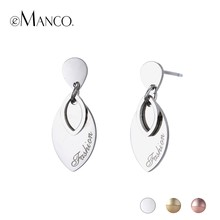eManco Hot Metal Leaf Earrings Fashion Stainless Steel Earrings For Women Gold Color Trendy Statement Jewelry Hollow Out(China)