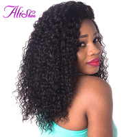 Alishes Brazilian Kinky Curly Weave Human Hair Bundles 100 Remy Hair Weaving Natural Black Color Hair