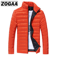 2019 Men Winter Coats and Jackets Slim-type Stand Collar Multicolor Cotton Coat Male Warmth Thickening Fashion ZOGAA