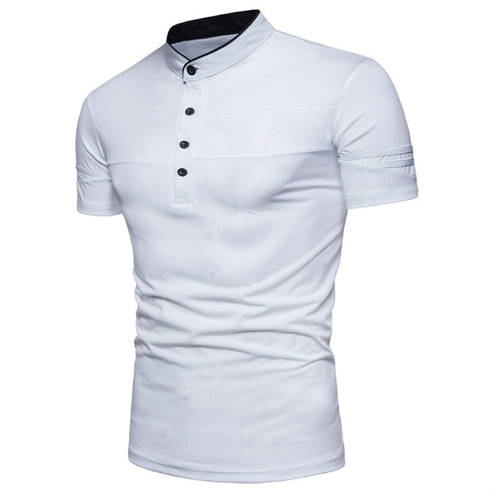 Summer Stand Collar Male Polo Shirt 2018 Solid Men s POLO Shirts Brand Tops Cotton Short