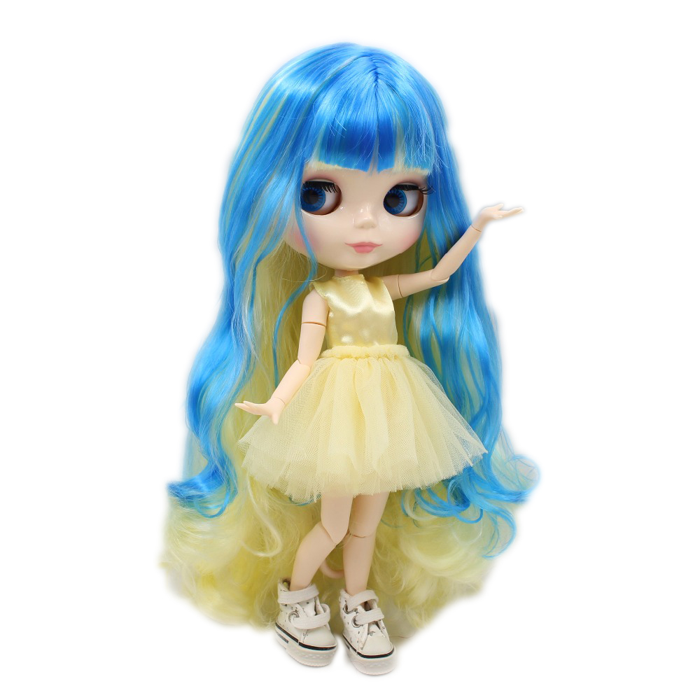 factory blyth doll blue mix yellow hair white skin joint body 1/6 30cm BL288/6208 luoxiaohei style polyester spandex doll toy decoration black yellow blue white