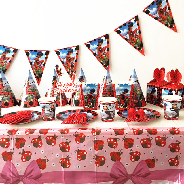 71pcs lot ladybug party set kids birthday party plates cups ladybug