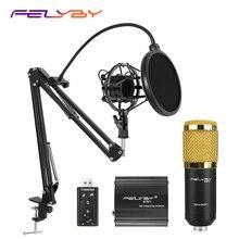 뜨거운! FELYBY BM 800 컴퓨터 오디오 스튜디오 용 전문 콘덴서 마이크 보컬 녹음 마이크 팬텀 파워 사운드 카드