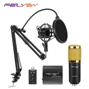 Image 1 - 뜨거운! FELYBY BM 800 컴퓨터 오디오 스튜디오 용 전문 콘덴서 마이크 보컬 녹음 마이크 팬텀 파워 사운드 카드