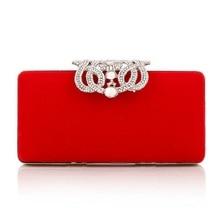 2017 women party bag Evening Bag elegant diamond crown velvet buckle Clutch bride wedding bridesmaids Bag bag with chain1586
