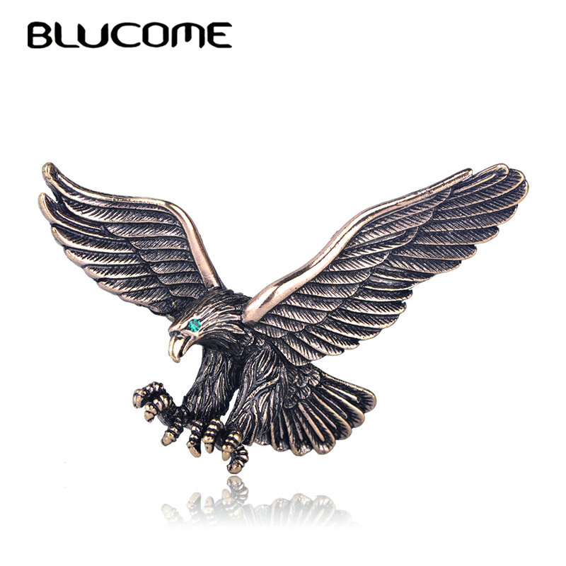 Blucome Vintage Antique Silver Color Jewelry Flying Eagle Brooch Men Boys Suit Scarf Accessories Bird Pins Birthday Party Gift Сникеры