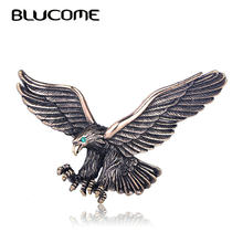 Blucome วินเทจโบราณเงินเครื่องประดับ Flying Eagle(China)