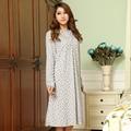 Envío libre más el tamaño XXL XXXL XXXXL camisa camisón camisón de la ropa de noche de las mujeres de algodón de manga larga para 150 kg