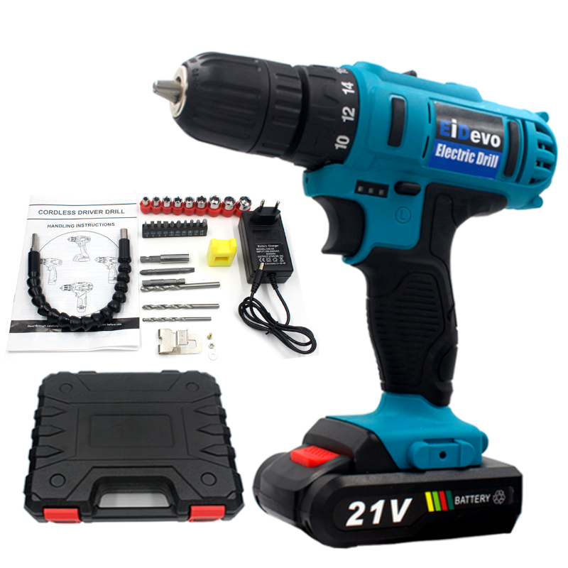 EiDevo 21V Li-ion Screwdriver Rechargeable Cordless drill tools drilling machine cordless screwdriver drill bit electric power цены