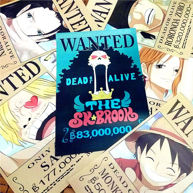 842x29cmNEW One Piece Wanted Posters Anime Wall Stickers Gift