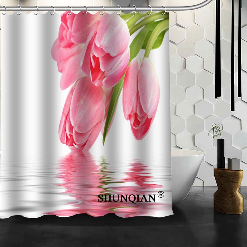Aliexpress.com : Buy Pink Flower Shower Curtain High Quality Bath Screens  Modern Polyester Fabric Customized Bath Curtain From Reliable Pink Flower  Shower ...