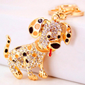 Creative Rhinestone 3D Cute Pet Dog Keychain Fashion Trinkets Car Key Chain Ring Holder For Women Bag Charm Pendant Gift R161