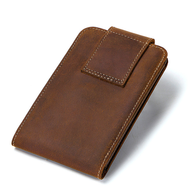 para teléfono móvil bolsa de bolsillo Nuevo Crazy Horse Cartera de cuero Delgado broche a presión de moda monedero llavero para hombres venta