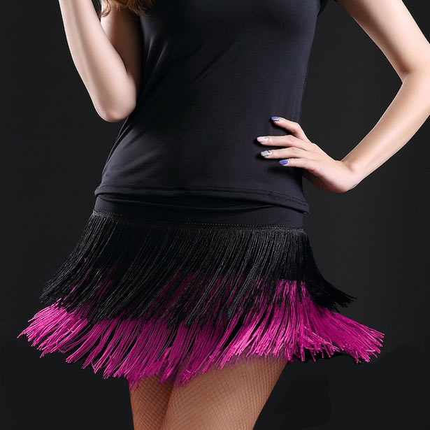 2019 Hot Sale Fashion Sexy Adult Lady Dance Dance Skirt Women's Double Tassel Latin Dance Skirt Fringed Skirts 8 Kind Colors