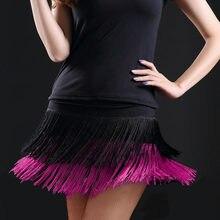 Falda de baile para mujer, falda con flecos dobles, falda de baile latino con flecos, 8 colores, gran oferta, 2019