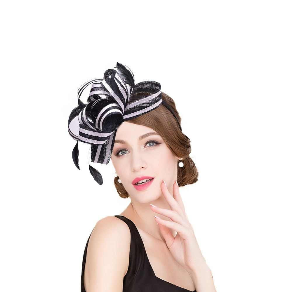 cb4581ab15b43 Women Black White Stripe Sinamay Fascinator Hats Feather Ladies Headpiece  Headband Kentucky Derby Wedding Party