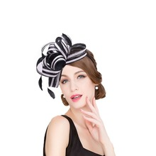 d60a86852e9 Lawliet Women Black White Stripe Sinamay Fascinator Hats Feather Ladies  Headband. US  22.62   piece Free Shipping